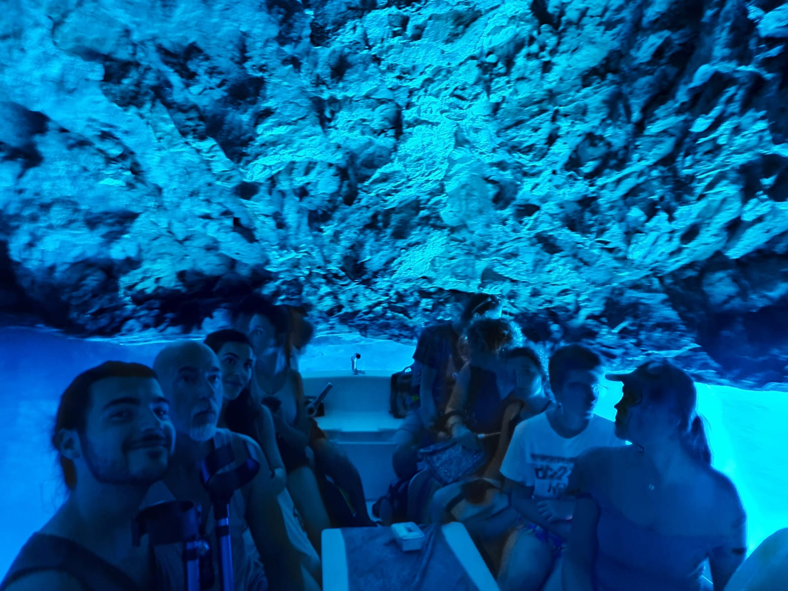 Blue Cave Tour from Split and Trogir our group inisde a blue cave